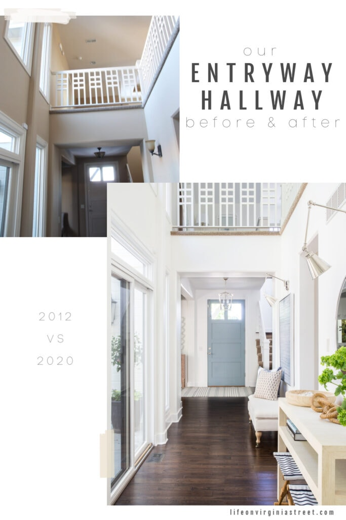 Pictures of entryway before and after a makeover with white walls, dark hardwood floors, a unique railing and coastal inspired colors and decor.