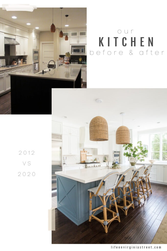 Before and after photos from a kitchen renovation. The new kitchen features white cabinets, a blue island, basket pendant lights, and large window, and bistro style bar stools.