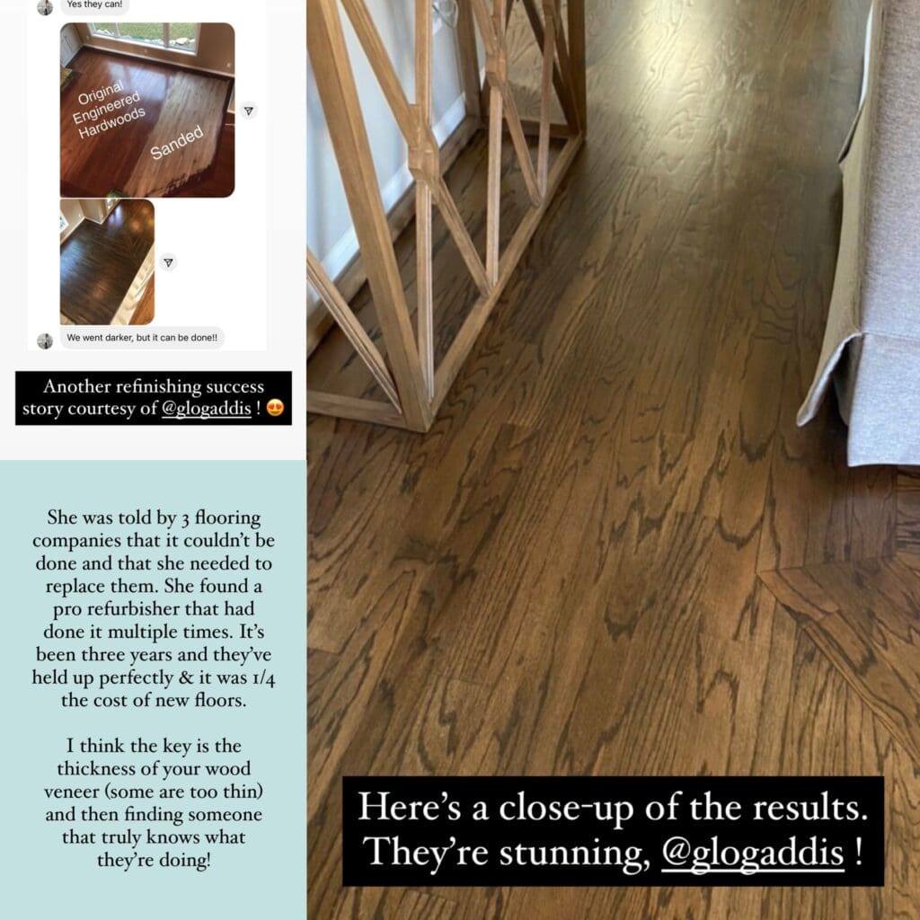 A before and after photo of engineered hardwood floors that were sanded down and then refinished with a brown stain. Such a beautiful transformation!