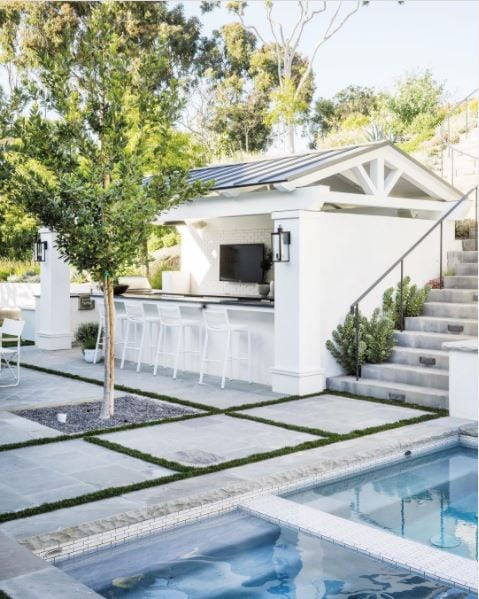 A gorgeous pool house idea with a white structure, metal roof, black countertop, TV, and bar stools. Love the pool and checkered landscaping as well.