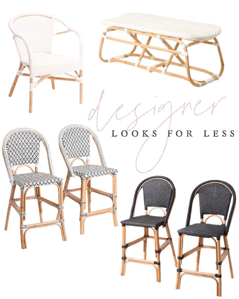 Designer look for less bistro armchair, bench and bistro style counter stools. Great look for less to the Serena & Lily barstools!
