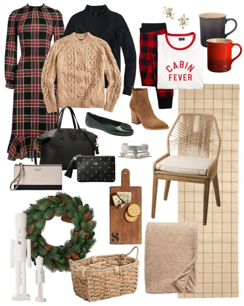 Cute gift ideas including a plaid dress, plaid rug, pine and magnolia wreath, cute pajamas, Le Creuset mugs, rope back chairs, modern nutcrackers and more! And they're all on sale this weekend!