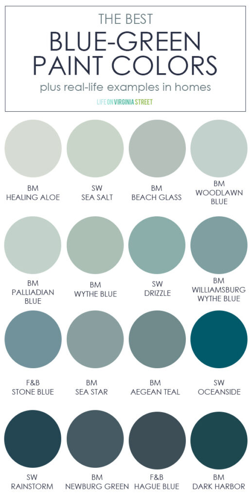 A collection of the best blue green paint colors. Includes info on how to pair them with other colors and shows each of the colors in a real-life space!