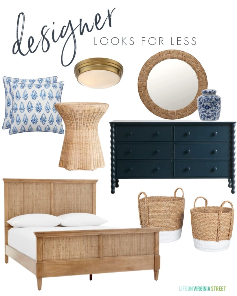 A designer look for less mood board with a cane bed, navy blue spindle dresser, scalloped wicker side table, blue patterned pillows, paint dipped baskets, a blue and white ginger jar, and stylish gold flush mount light fixture.
