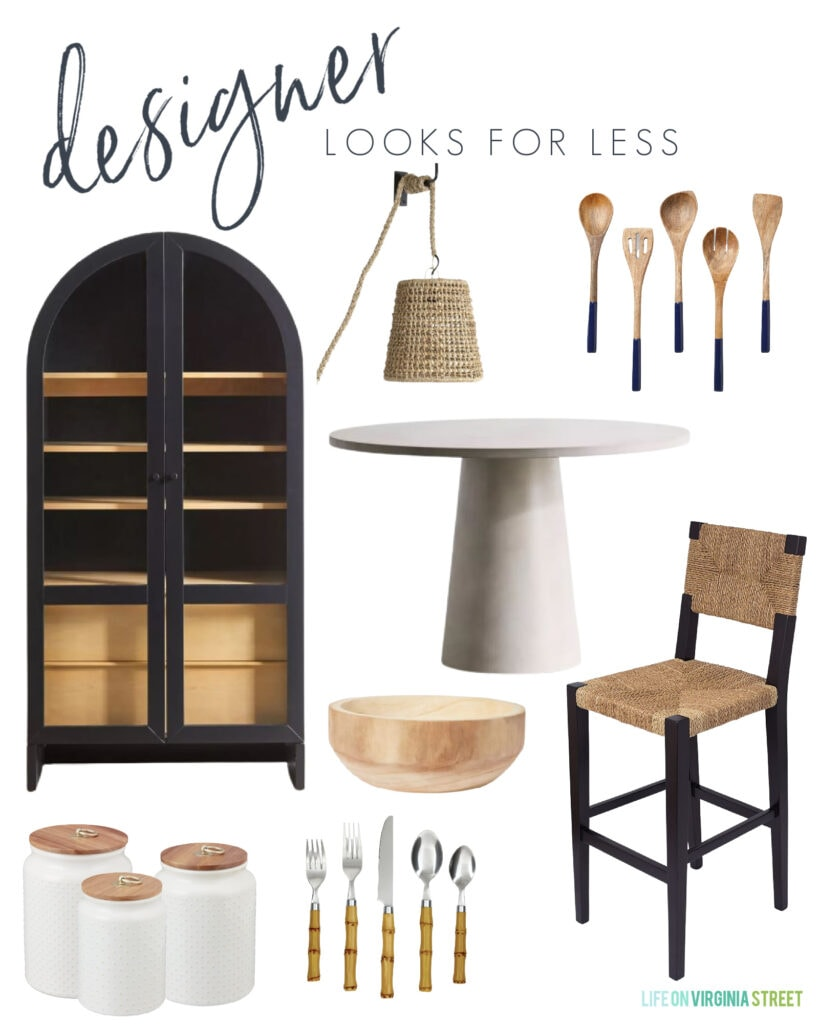 A home decor look for less mood board inspired by designer pieces! Includes an arched cabinet hutch, round concrete dining table, black and natural woven counter stools, paint dipped serving tools, affordable bamboo utensils and more!