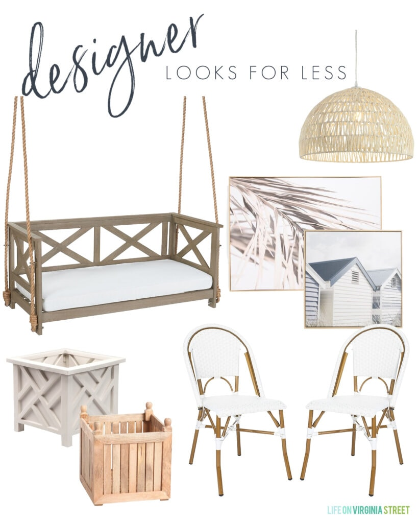 An outdoor-inspired designer look for less design board with a porch swing, coastal art, white bistro chairs, chippendale planters and a woven pendant light.
