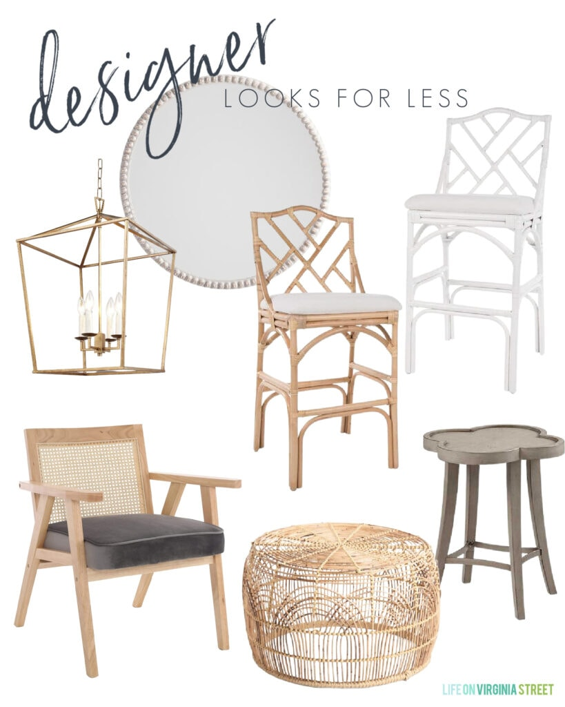 Home decor looks for less with chippendale bar stools, a gold pendant lantern chandelier, cane arm chair, rattan coffee table, and a quatrefoil side table.