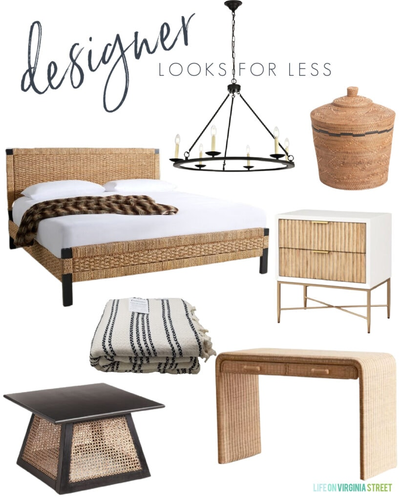 Interior design looks for less with a woven bed, affordable wagon wheel chandelier, fluted nightstand, wicker desk, cane coffee table, and Turkish throw blanket.