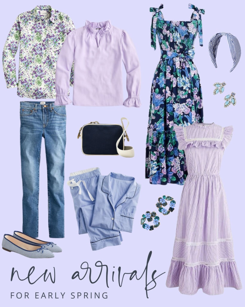 Shades of lavender spring outfit ideas including tops, dresses, pajamas, shoes, earrings, headbands and more!