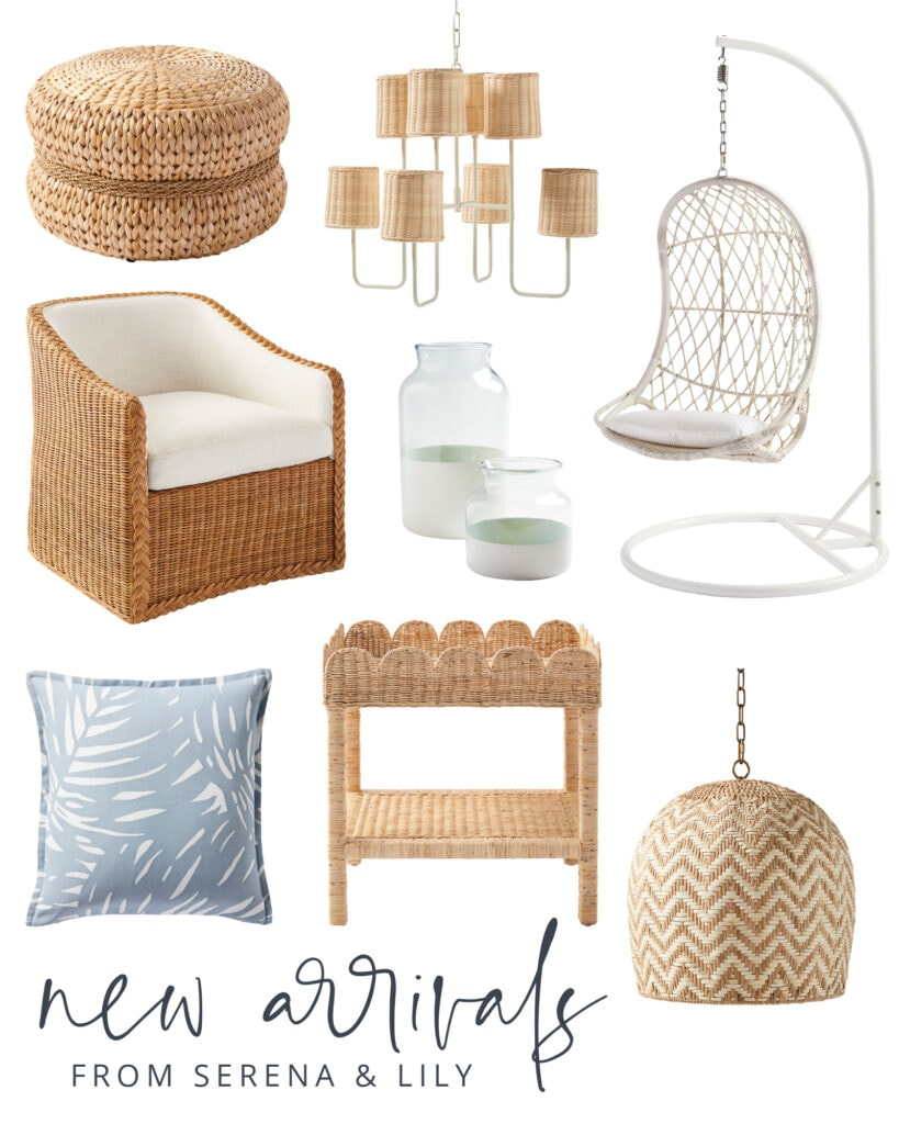 Serena & Lily sale picks! Includes a palm print pillow, rattan chair, scallop wicker tray, white swing chair, and more!