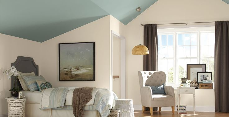 Sherwin Williams Drizzle painted ceiling. Such a pretty blue green paint color, and I love its application here!