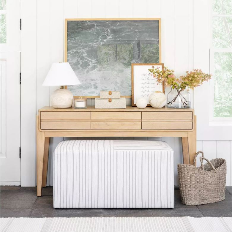 Gorgeous pieces from the new Studio McGee Target spring line! Love this wood console table, round wood lamp, beach art, striped bench, seagrass basket and more!