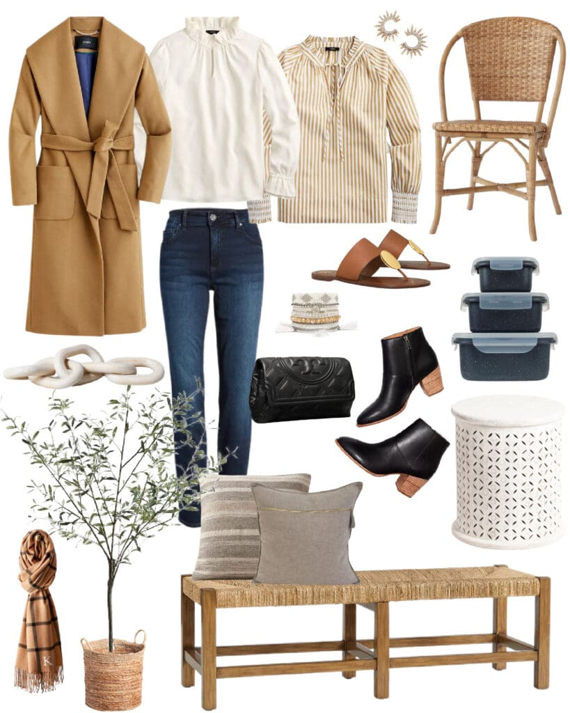 My top picks for women's fashion and home decor from the best weekend sales! Includes a wool wrap coat, woven bench, Parisian style bistro chair, white wood stool, quilted clutch purse, light wood chain decor, black booties, cute ruffled tops, and more!