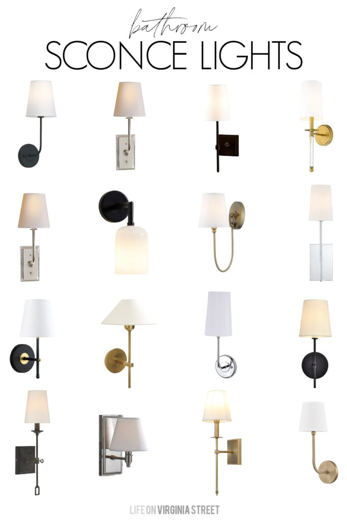 A collection of stylish and affordable bathroom sconces. Includes lights in a variety of finishes and design styles. Perfect for bathrooms, hallways, theater rooms, and more!