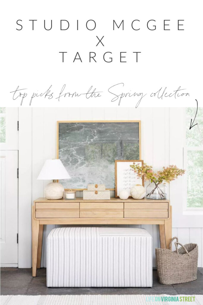 Sharing my top picks from the Studio McGee Target spring collection! So many high-end looking finds at affordable prices. I love this light wood console table, gold mirror, woven baskets, striped rug, woven boxes, wood lamp and more!