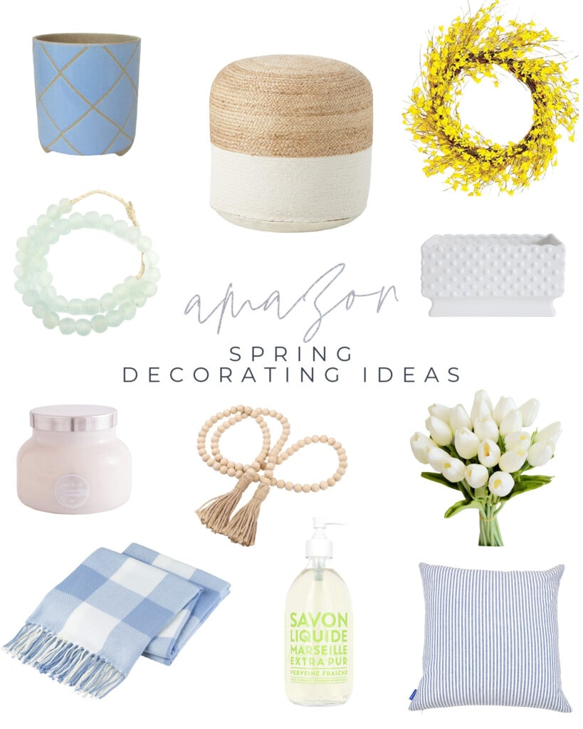 A selection of Amazon spring decorating ideas that are perfect for adding spring decor to your home! Includes recycled glass beads, a forsythia wreath, light blue buffalo check throw blanket, faux white tulips, a hobnail planter and so much more!