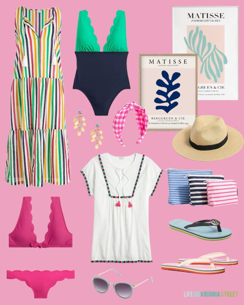 Colorful beach inspired outfits including a rainbow maxi dress, scallop colorblock bathing suit, matisse art prints, flip flops and a scallop bikini!