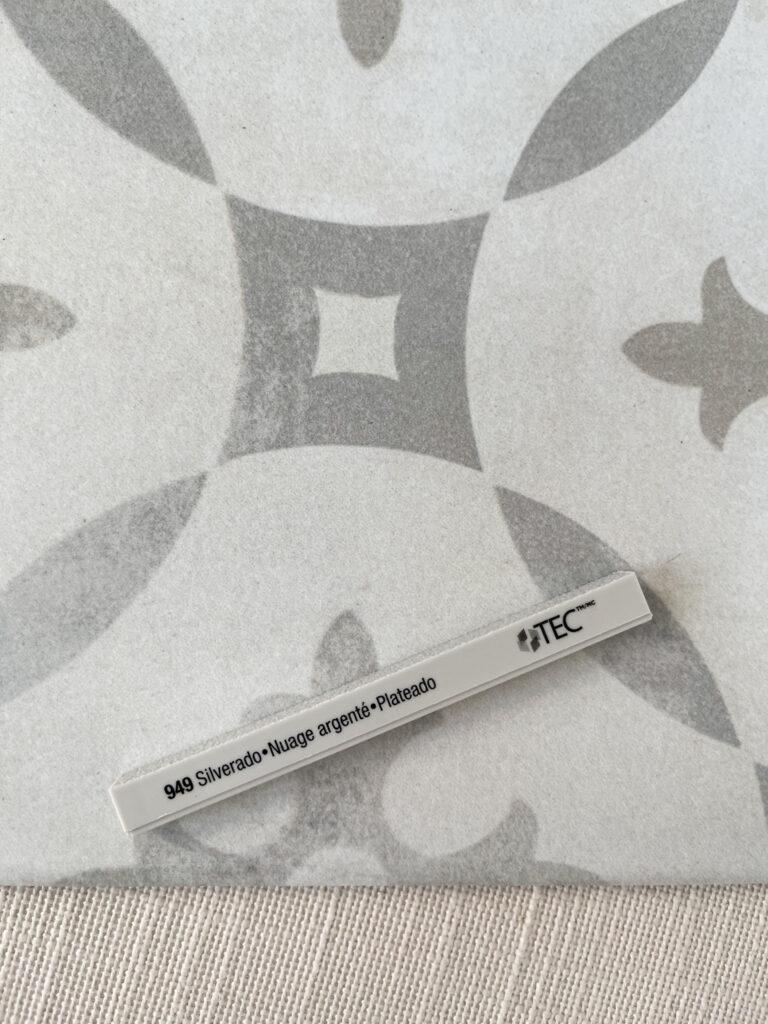 Silverado grout sample with patterned porcelain tile.