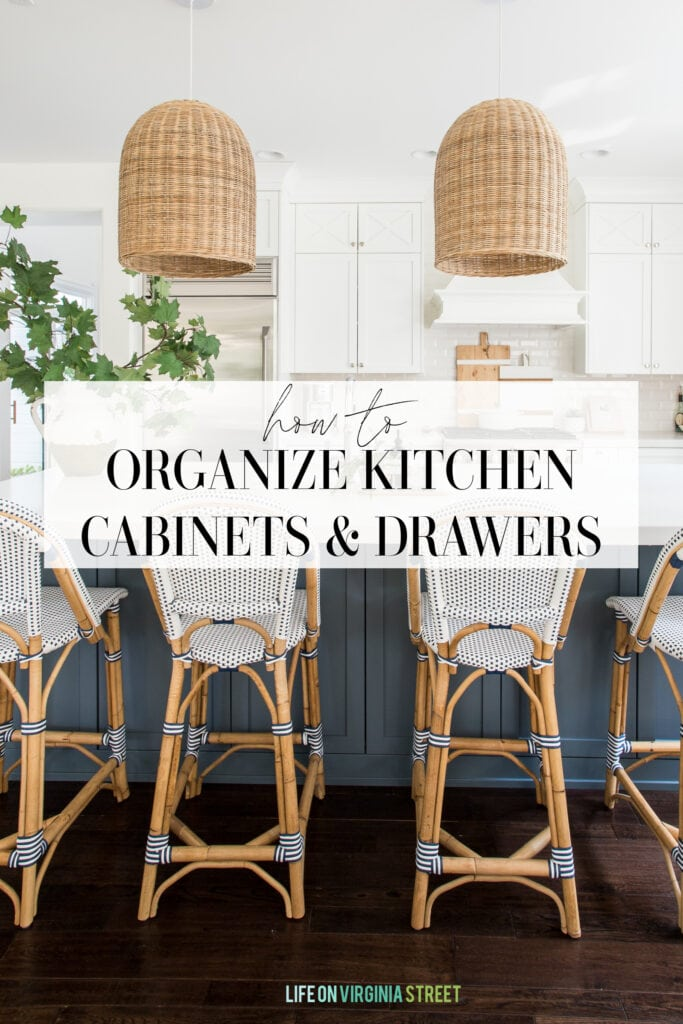 Excellent tips on how to organize kitchen cabinets and drawers. Also includes the best organizing tools to help you get started!