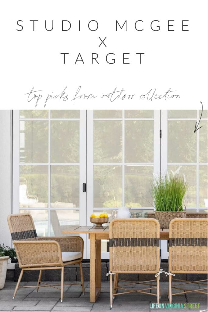 A selection of striped outdoor dining chairs and decor from the new Studio McGee Threshold line at Target.