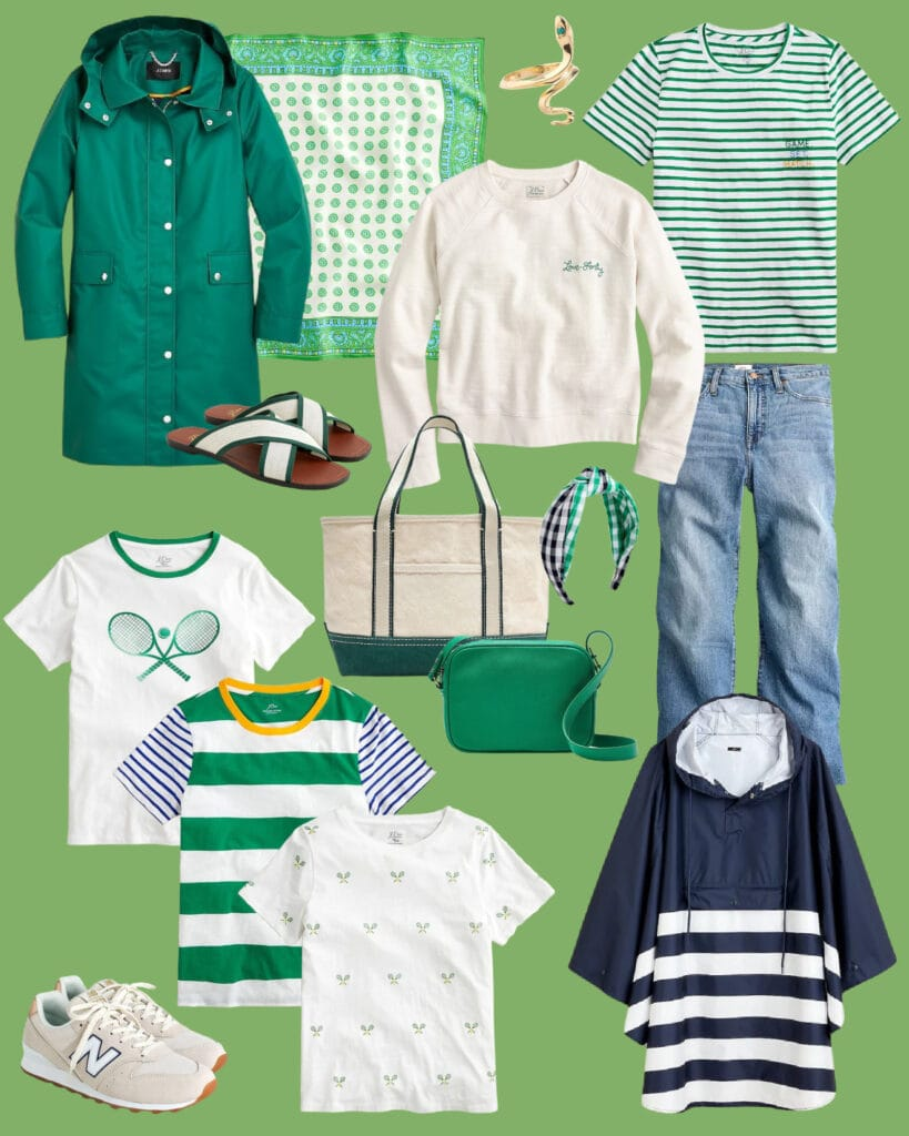 Green outfit ideas for spring! Includes a kelly green raincoat, preppy striped tee shirts, tennis tees, a canvas tote, striped packable rain poncho, and a green pebbled leather purse. Perfect for St. Patrick's Day or spring in general!