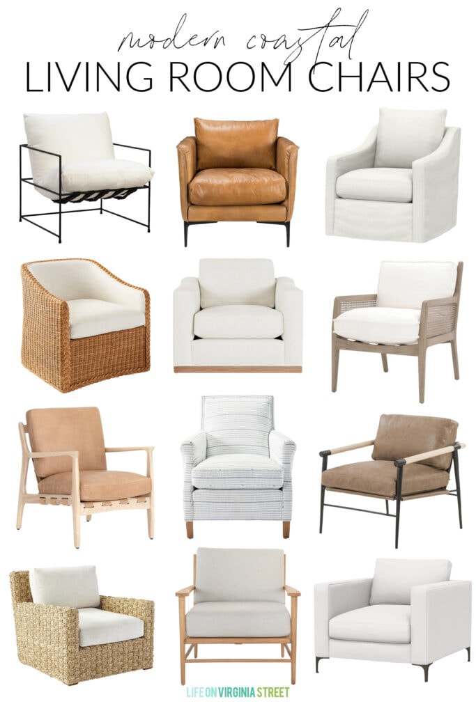A curated collection of modern coastal living room chairs. Includes upholstered armchairs, light leather chairs, woven chairs, and more!