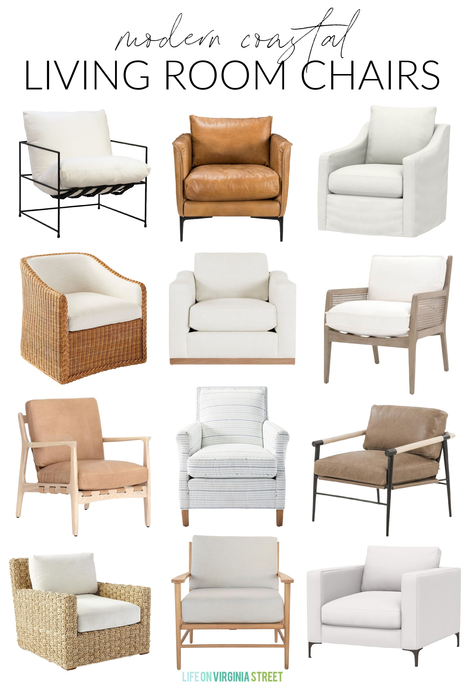 Modern Coastal Living Room Chairs, Modern Living Room Chairs