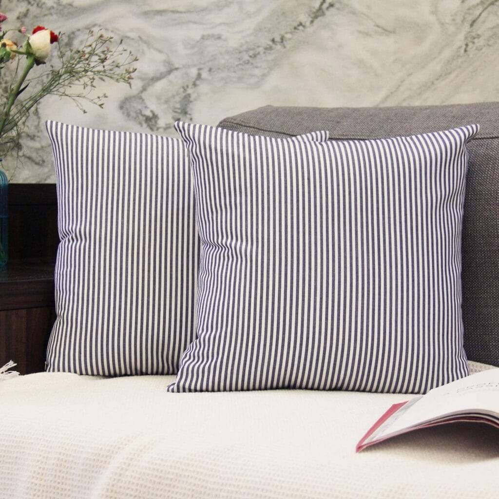 Pair of Ticking Stripe Pillow Covers