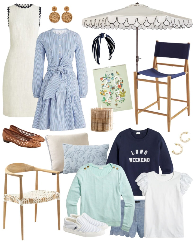 Cute clothes and home decor items on sale this weekend! Includes shades of blue and white all perfect for spring!