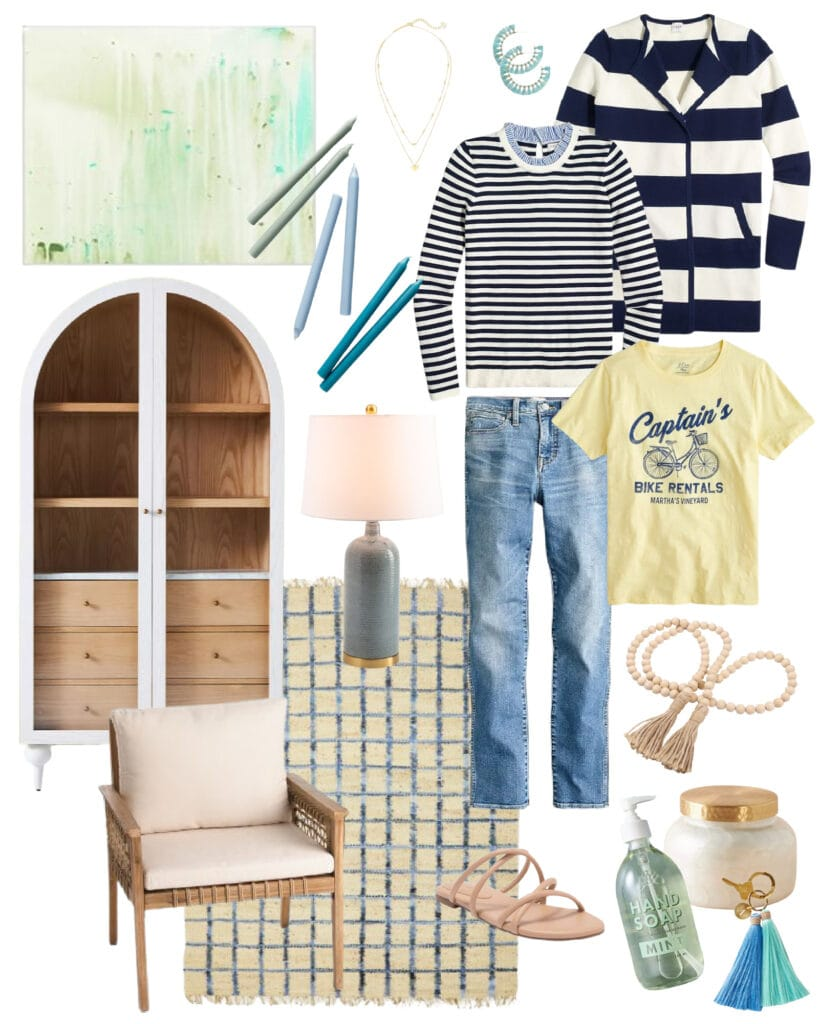 Favorite finds from the best weekend sales! Includes a striped sweater jacket, arched cabinet, abstract art, sandals, a cute graphic tee and more!