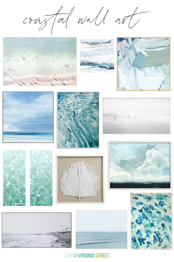 A curated selection of beautiful coastal wall art that is perfect for your beachy home decor! Love the serene vibe of this ocean and beach art!