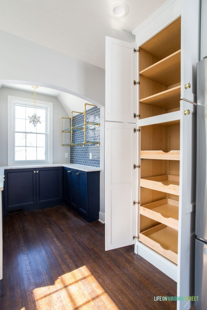 Kitchen pantry cabinets with rollout shelves and storage.