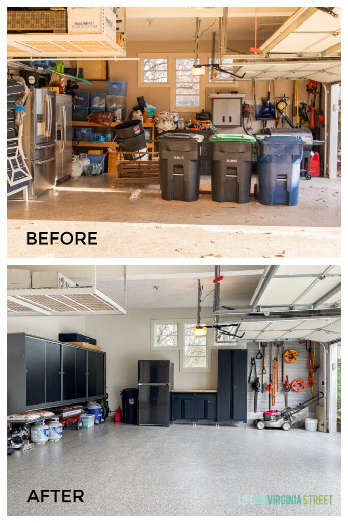 A garage makeover that includes new garage storage pieces, polyaspartic garage floors, a slat wall for gardening tools, a garage workbench, and much more!