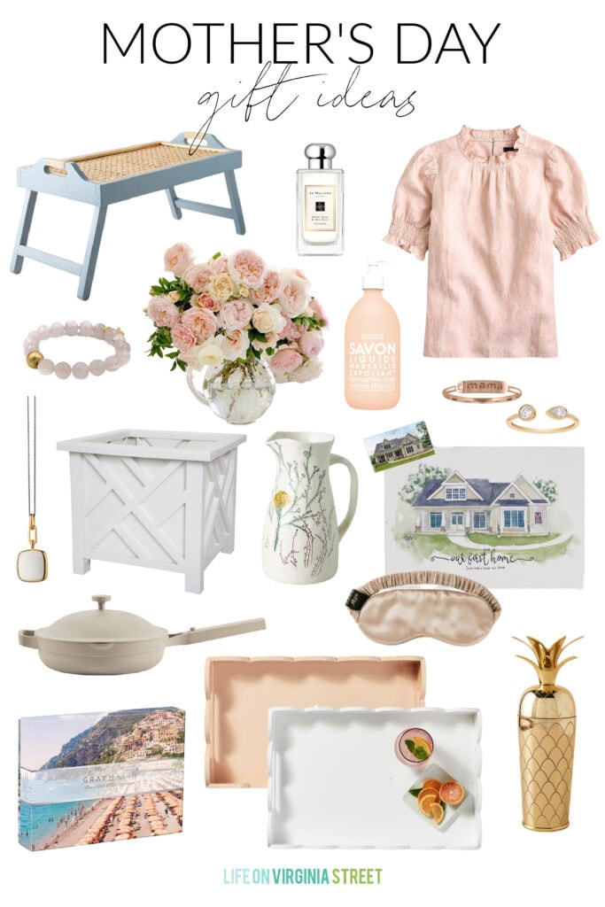 A collection of beautiful Mother's Day gift ideas including a cane breakfast tray, cologne, linen shirt, chippendale planter, scallop planters, custom watercolor house painting, beautiful jewelry, and more!