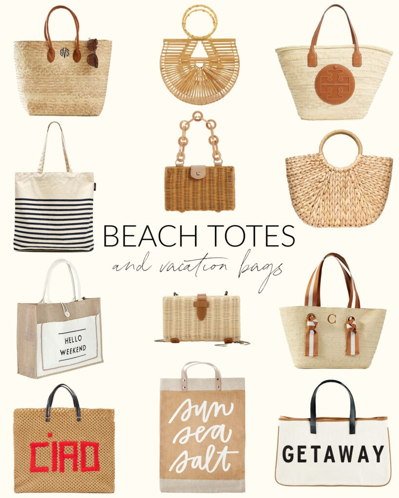 Tropical vacation beach totes and evening purses and clutch, all with a beachy vibe!