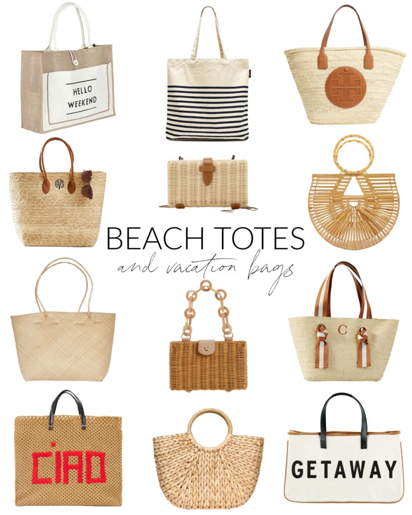 A huge collection of beach totes, vacation bags, straw purses, and woven clutches that are perfect for a warm weather vacation or a day at the pool!