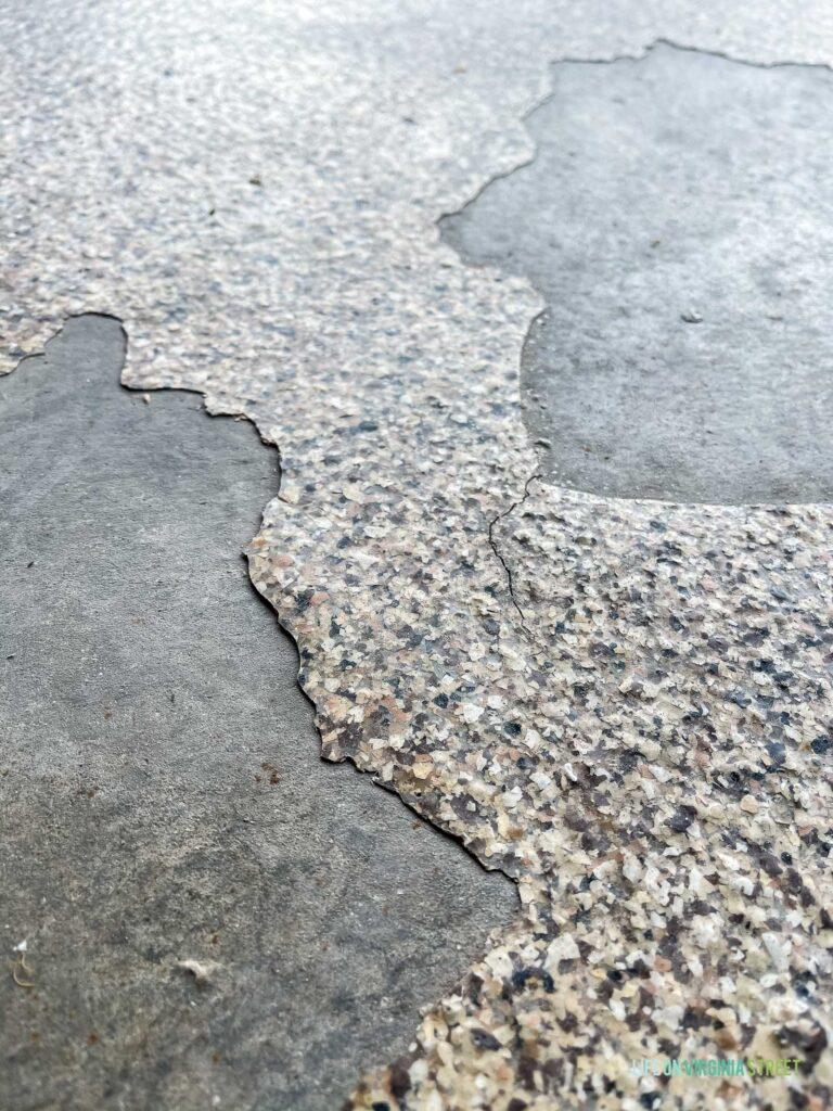 Epoxy garage floors that are cracking and peeling.
