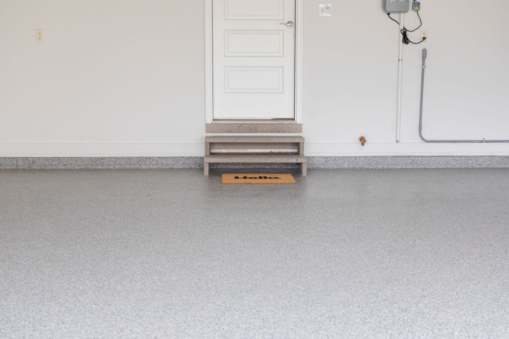 Our garage with our new polyaspartic garage floor coating.
