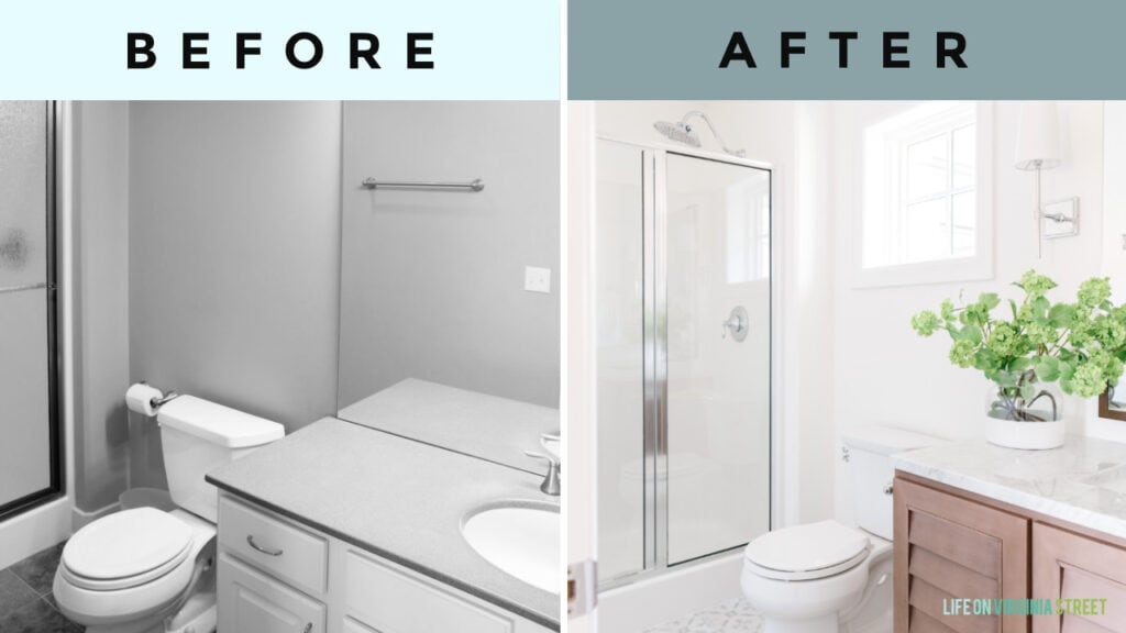 Before and after images from our small guest bathroom remodel reveal!