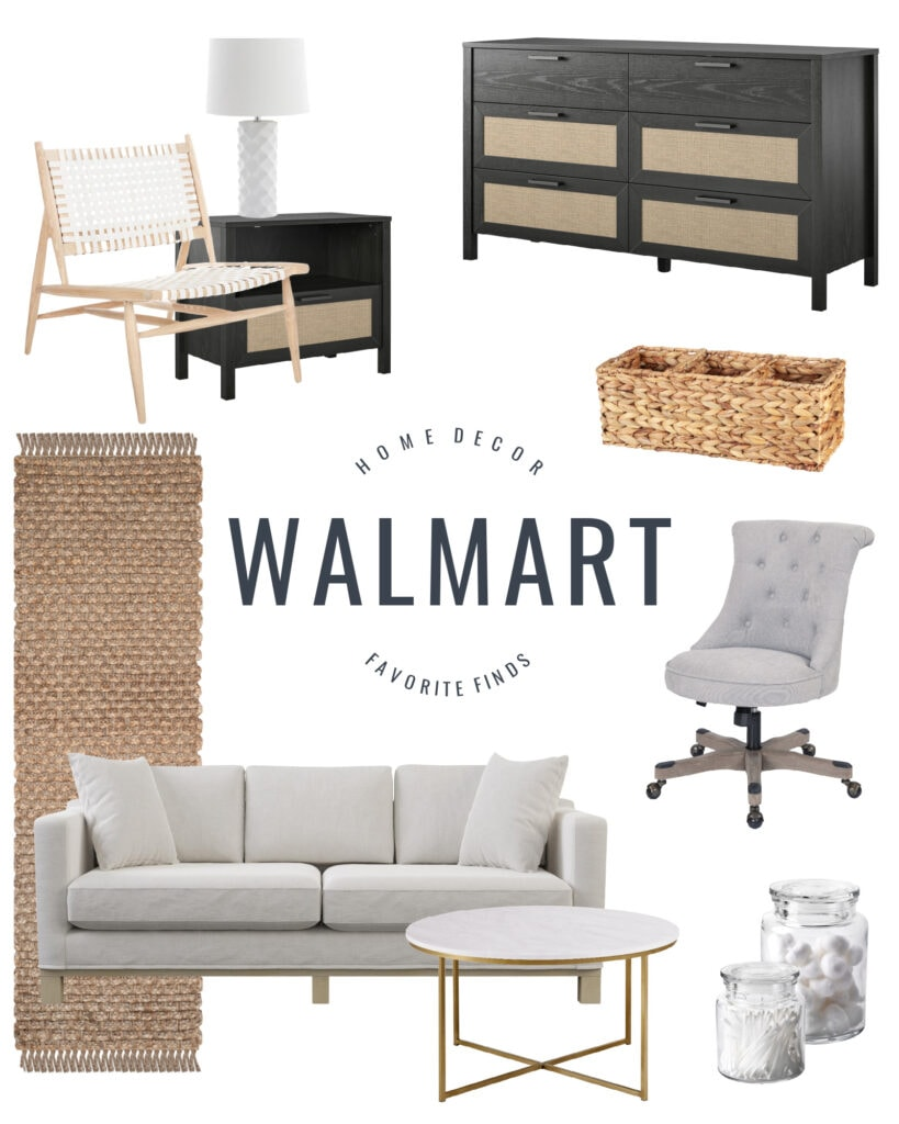 Walmart home decor and furniture finds including a woven leather chair, cane style black dresser, rolling desk chair, chic sofa, faux marble coffee table and a braided rug.