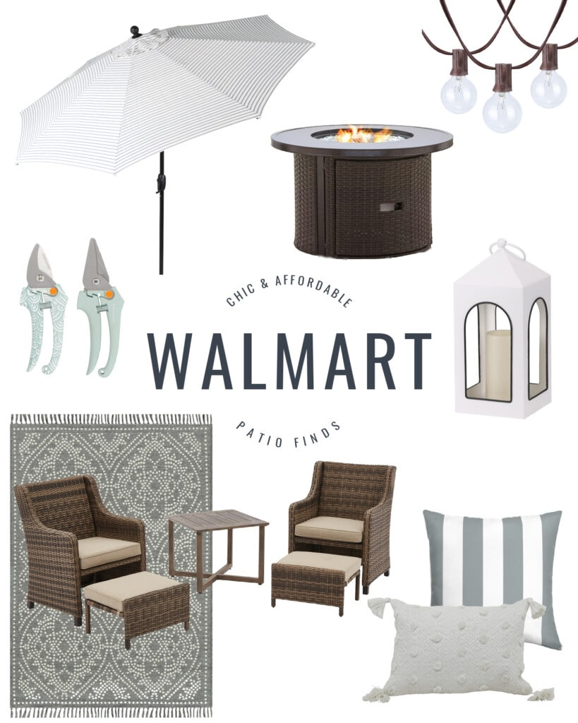 Chic and affordable Walmart patio furniture including a striped umbrella, round firepit, string lights, a white outdoor lantern, a patterned outdoor rug, cute outdoor throw pillow and a wicker style conversation set.