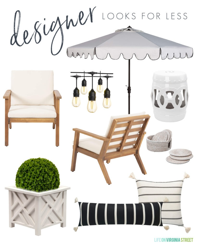 Patio decor with a designer look for less! Includes a scalloped umbrella, faux boxwood in a chippendale planter, striped outdoor pillows and shatterproof string lights.