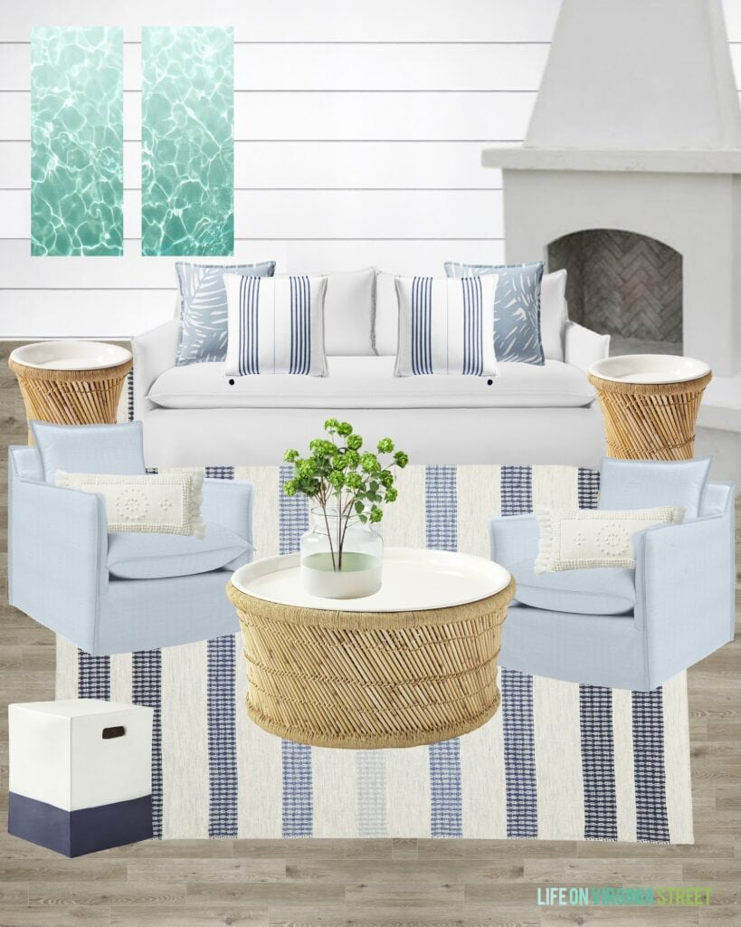 Outdoor furniture selection and pool house plans. Includes a blue striped rug, round coffee table, blue swivel chairs and pool water art.