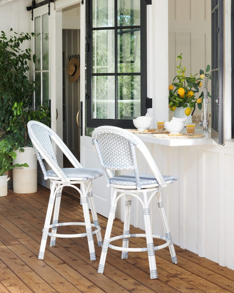 Blue and white outdoor counter stools that are part of my Serena & Lily Memorial Day Weekend Sale picks!
