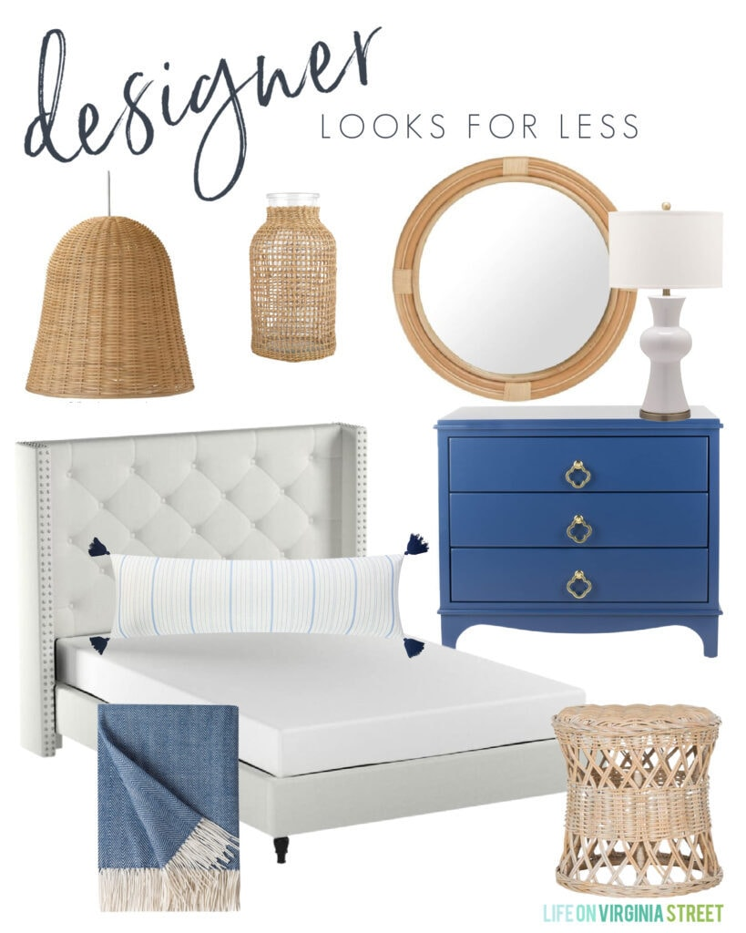 Coastal inspired designer looks for less mood board with a tufted headboard, woven pendant light, blue dresser, round rattan mirror, ceramic lamp, and long lumbar pillow.