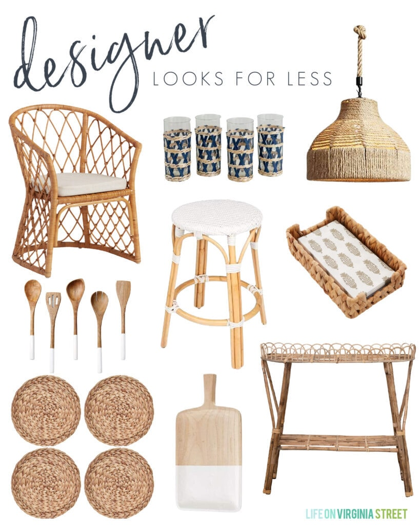 Designer inspired woven kitchen decor including an armchair, counter stool, pendant light, water hyacinth placemat, plant stand, drinking glasses and more!