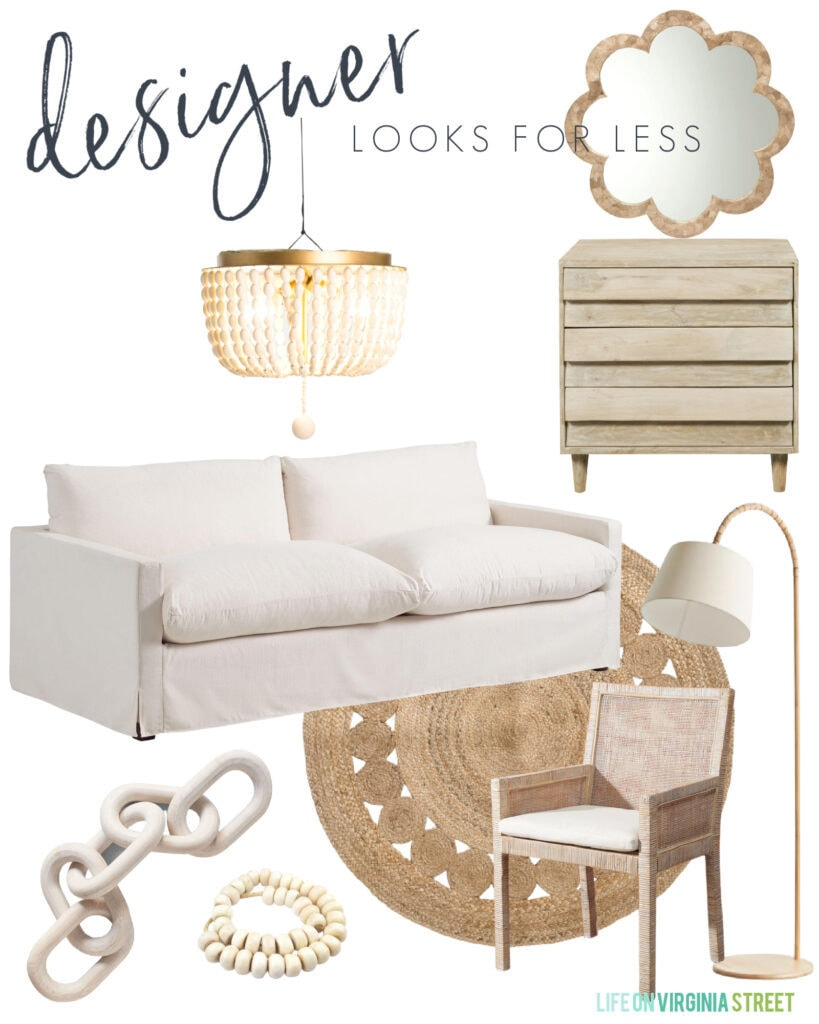 Home decor looks for less with a linen sofa, round woven rug, light wood dresser, capiz mirror, wood bead chandelier, light wood chain decor, woven arm chair, and tall floor lamp.
