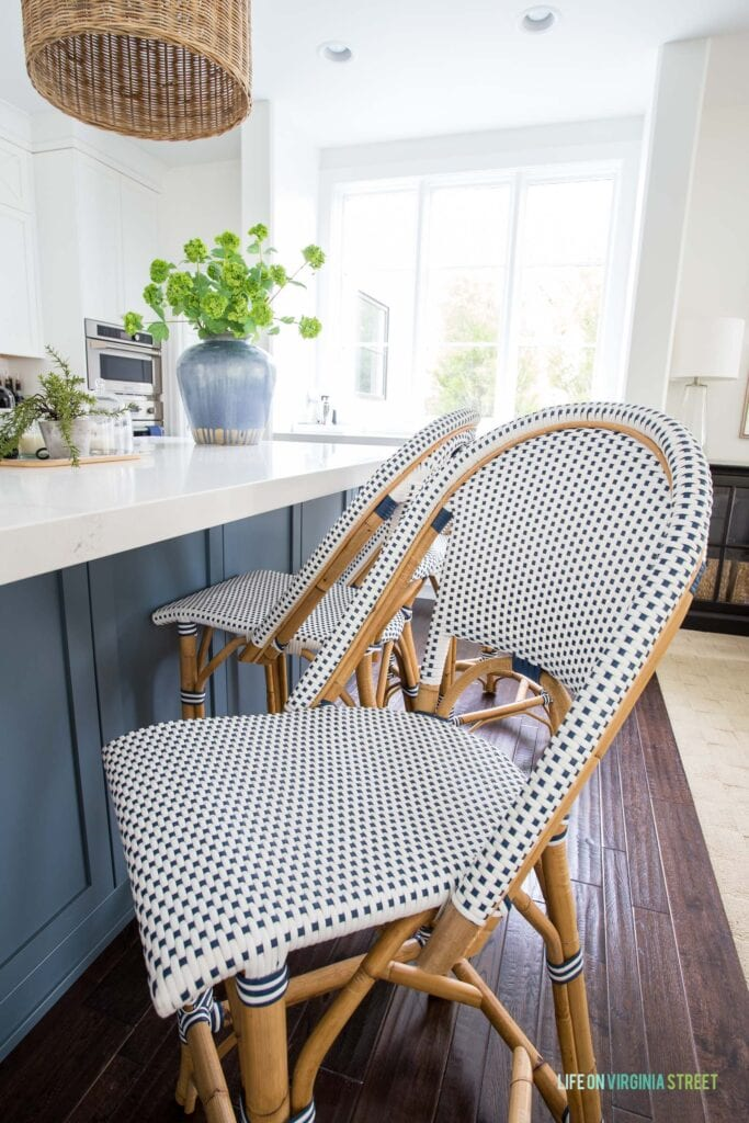 A Serena & Lily Counter Stool after three years of almost daily use. This post review the stools and includes all the pros and cons!
