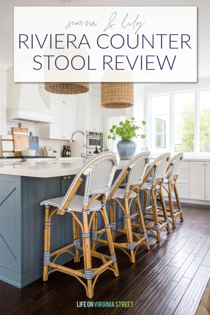 A thorough and honest review of the Serena & Lily Riviera Counter Stools in our kitchen after three years, including all the pros and cons!