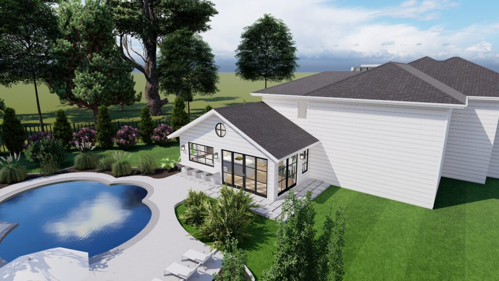 Exterior pool house renderings of our addition we're adding to our home. Includes white siding, brown windows, and an outdoor bar.